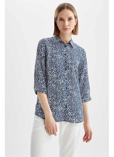 DeFacto Regular Fit Çiçek Desenli Uzun Kollu Gömlek Lacivert